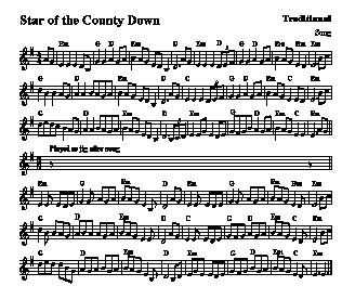 For the Star of County Down, Irish folk tune